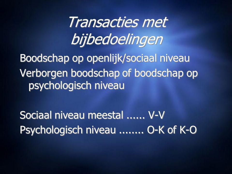 Transacties met bijbedoelingen Boodschap op openlijk/sociaal niveau Verborgen boodschap of boodschap op psychologisch niveau Sociaal niveau meestal......