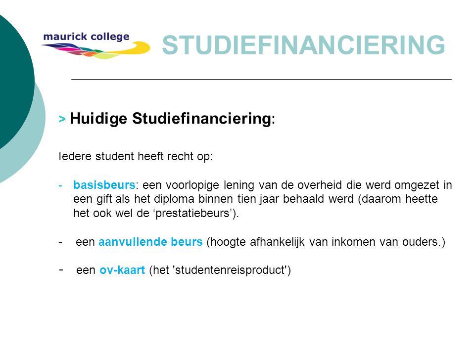 STUDIEFINANCIERING > Huidige Studiefinanciering : Iedere student heeft recht op: -basisbeurs: een voorlopige lening van de overheid die werd omgezet i