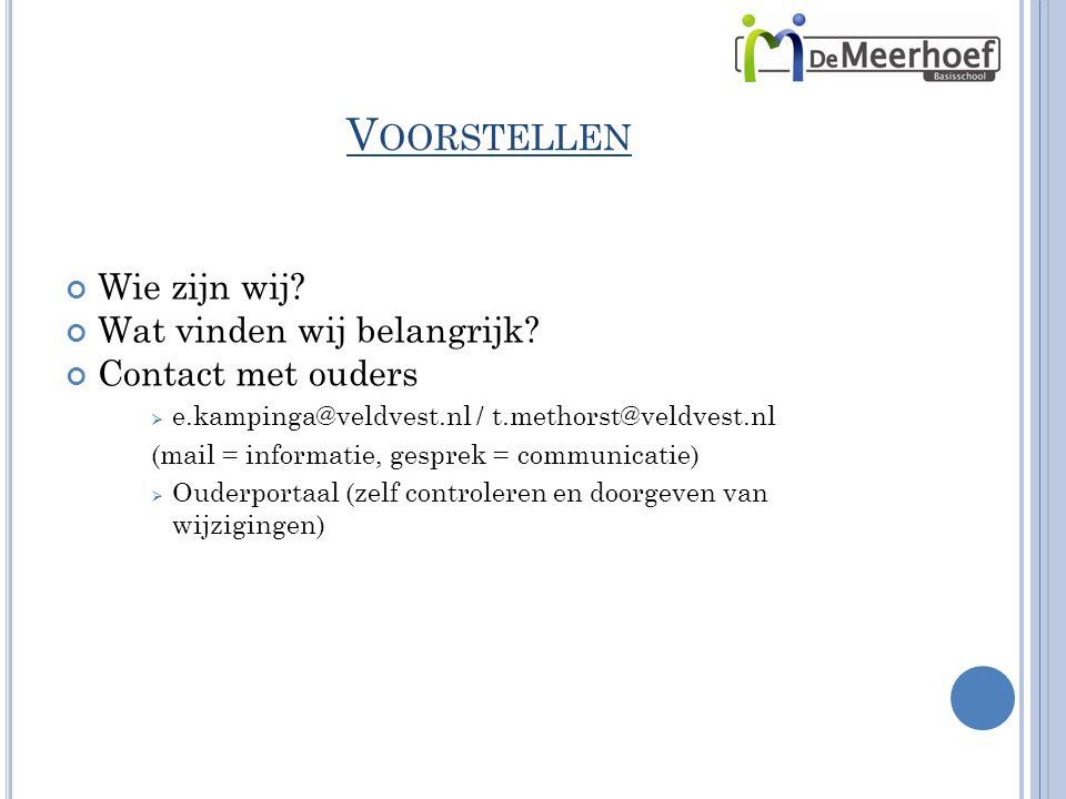V OORSTELLEN Wie zijn wij? Wat vinden wij belangrijk? Contact met ouders  e.kampinga@veldvest.nl / t.methorst@veldvest.nl (mail = informatie, gesprek