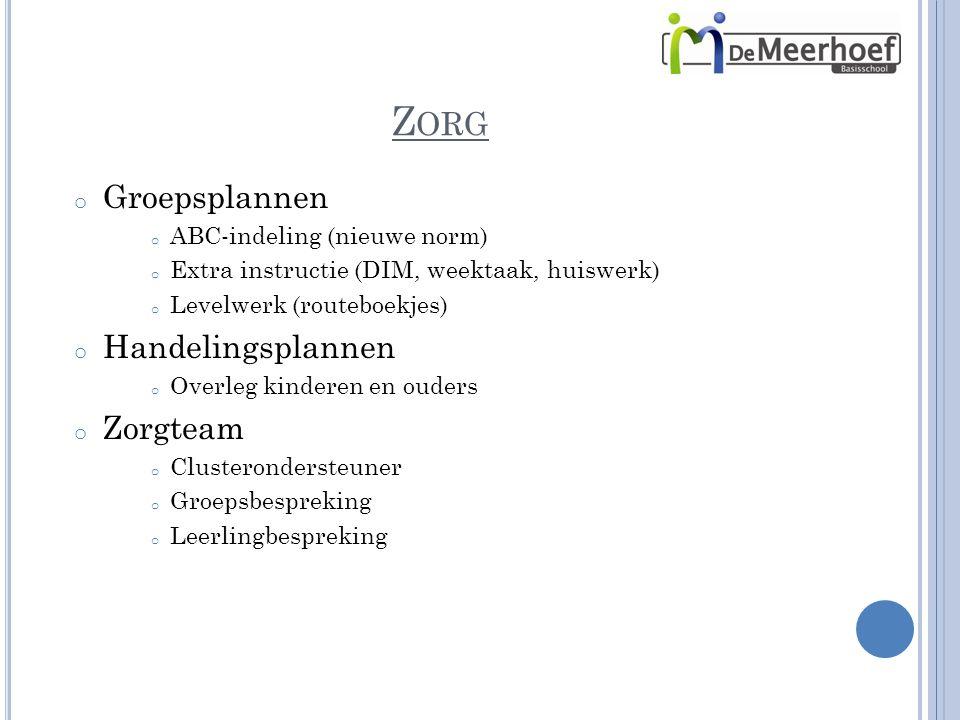 Z ORG o Groepsplannen o ABC-indeling (nieuwe norm) o Extra instructie (DIM, weektaak, huiswerk) o Levelwerk (routeboekjes) o Handelingsplannen o Overl