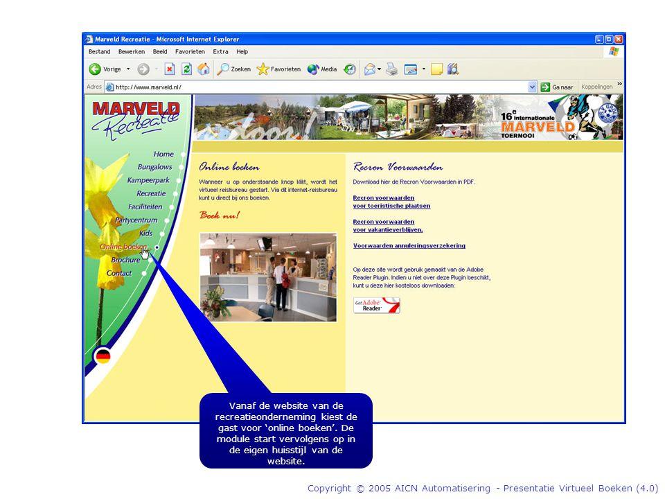 Copyright © 2005 AICN Automatisering - Presentatie Virtueel Boeken (4.0) Vanaf de website van de recreatieonderneming kiest de gast voor 'online boeken'.