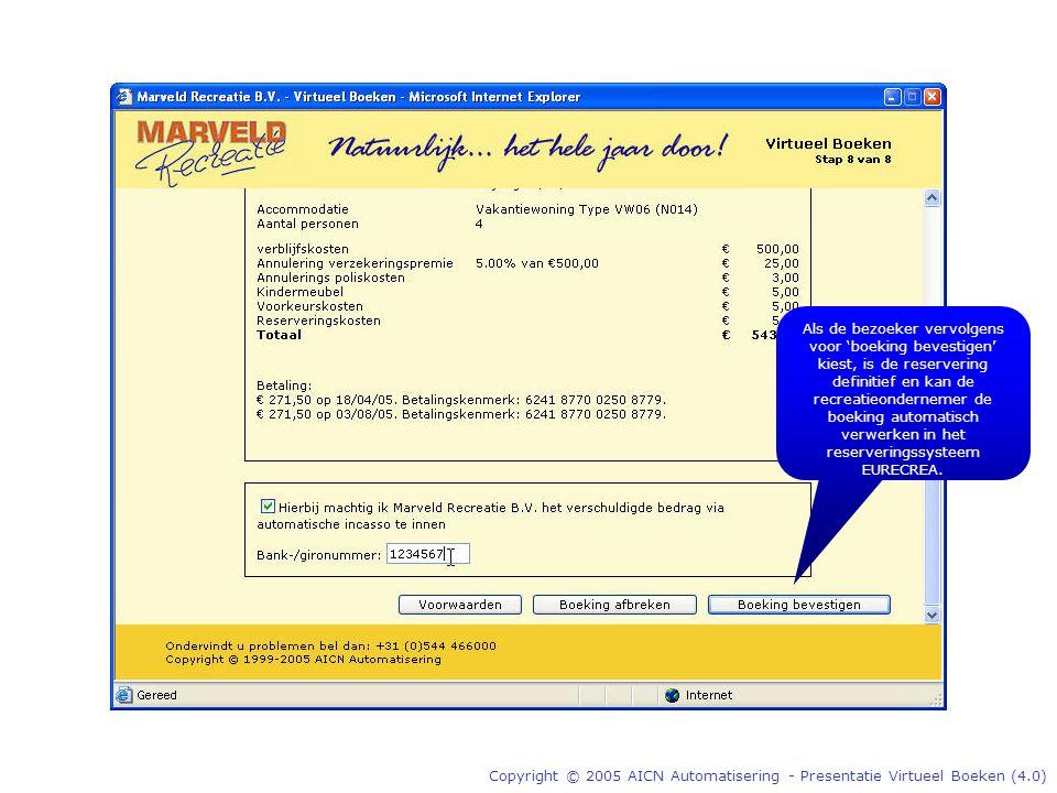 Copyright © 2005 AICN Automatisering - Presentatie Virtueel Boeken (4.0) Als de bezoeker vervolgens voor 'boeking bevestigen' kiest, is de reservering definitief en kan de recreatieondernemer de boeking automatisch verwerken in het reserveringssysteem EURECREA.