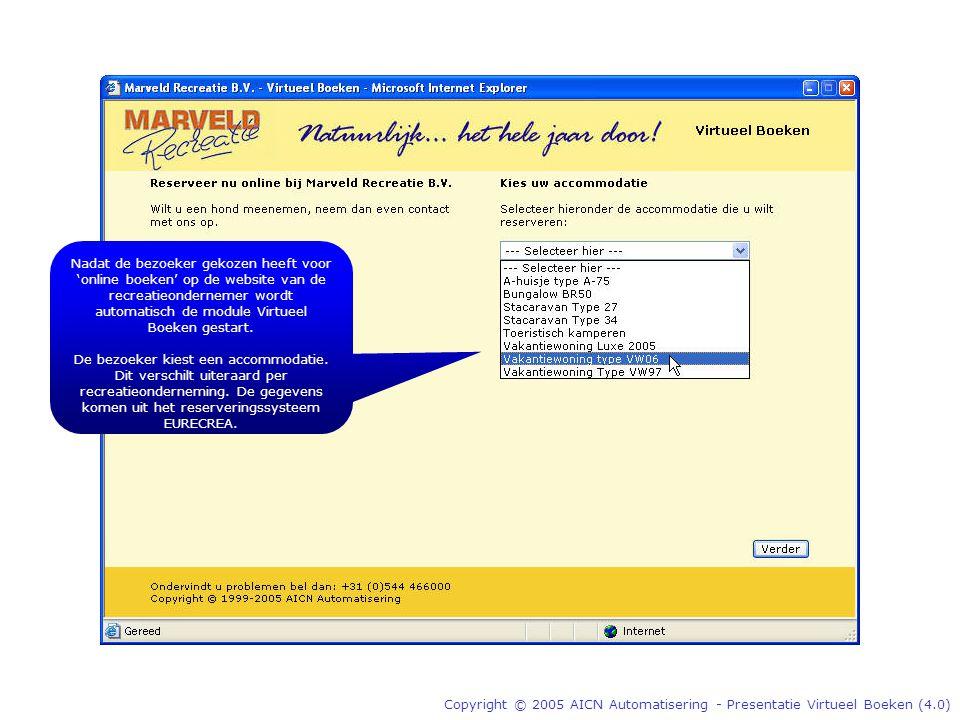 Copyright © 2005 AICN Automatisering - Presentatie Virtueel Boeken (4.0) Nadat de bezoeker gekozen heeft voor 'online boeken' op de website van de recreatieondernemer wordt automatisch de module Virtueel Boeken gestart.