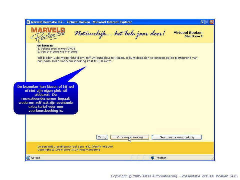Copyright © 2005 AICN Automatisering - Presentatie Virtueel Boeken (4.0) De bezoeker kan kiezen of hij wel of niet zijn eigen plek wil uitkiezen.
