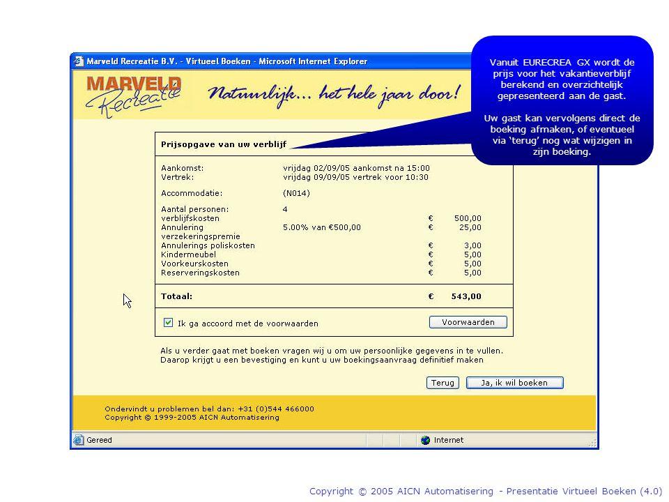 Copyright © 2005 AICN Automatisering - Presentatie Virtueel Boeken (4.0) Vanuit EURECREA GX wordt de prijs voor het vakantieverblijf berekend en overzichtelijk gepresenteerd aan de gast.