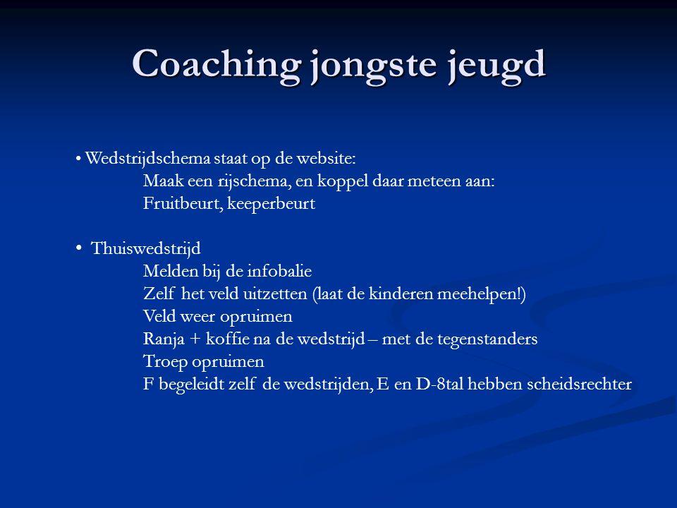 Coaching jongste jeugd Wedstrijdschema staat op de website: Maak een rijschema, en koppel daar meteen aan: Fruitbeurt, keeperbeurt Thuiswedstrijd Meld