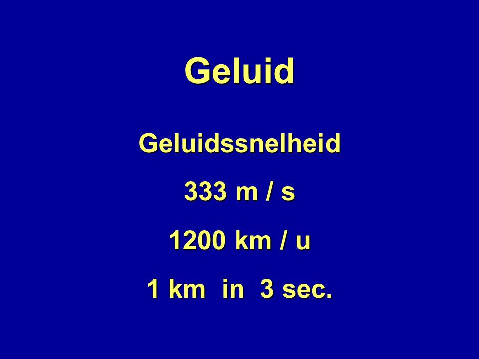 Geluid Geluidssnelheid 333 m / s 1200 km / u 1 km in 3 sec.