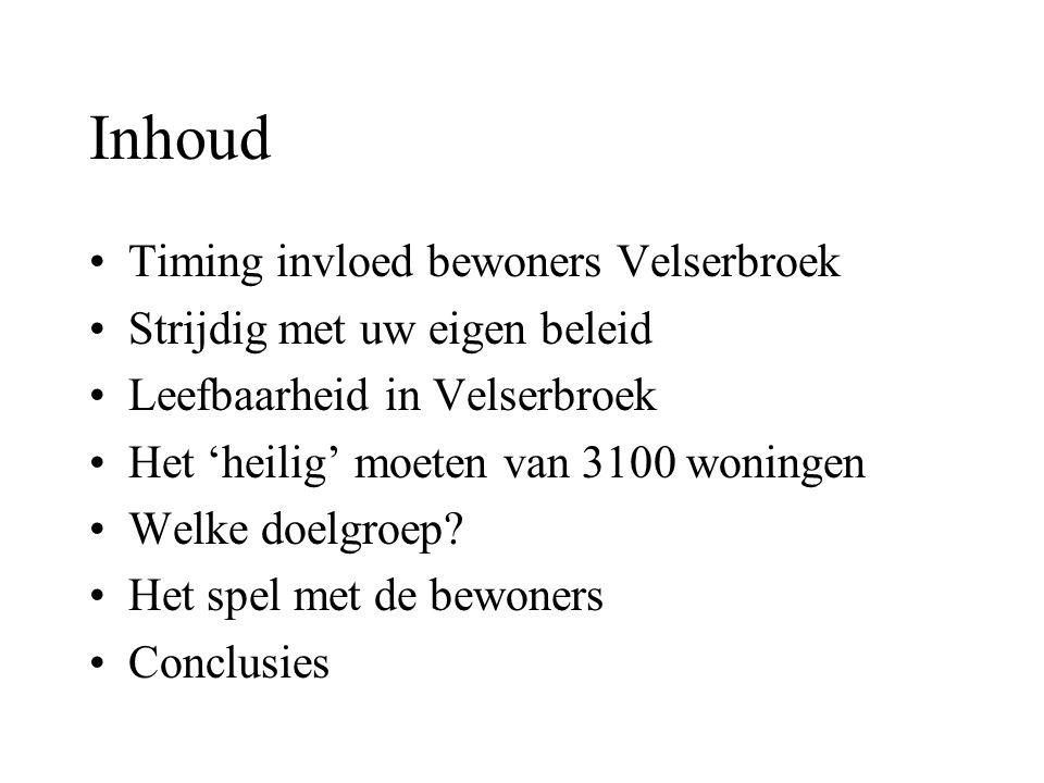 Inhoud Timing invloed bewoners Velserbroek Strijdig met uw eigen beleid Leefbaarheid in Velserbroek Het 'heilig' moeten van 3100 woningen Welke doelgroep.