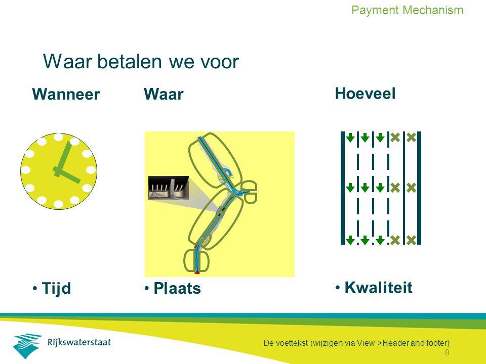 De voettekst (wijzigen via View->Header and footer) 8 Wanneer Tijd Waar betalen we voor Waar Plaats Hoeveel Kwaliteit Payment Mechanism