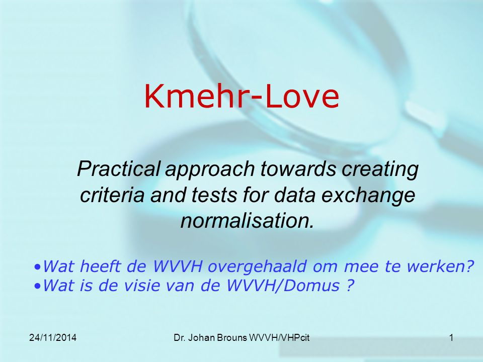 24/11/2014Dr.Johan Brouns WVVH/VHPcit2 Data exchange normalisation… Perceptie.
