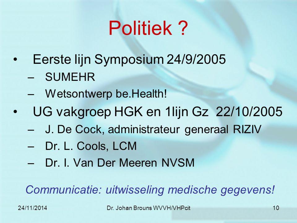 24/11/2014Dr. Johan Brouns WVVH/VHPcit10 Politiek ? Eerste lijn Symposium 24/9/2005 –SUMEHR –Wetsontwerp be.Health! UG vakgroep HGK en 1lijn Gz 22/10/