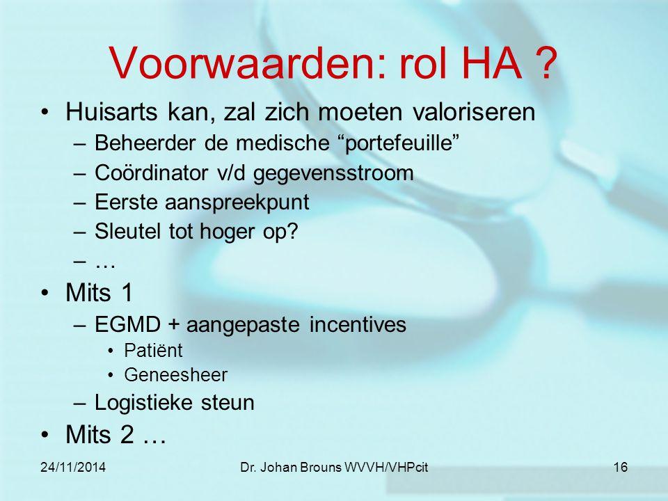 """24/11/2014Dr. Johan Brouns WVVH/VHPcit16 Voorwaarden: rol HA ? Huisarts kan, zal zich moeten valoriseren –Beheerder de medische """"portefeuille"""" –Coördi"""