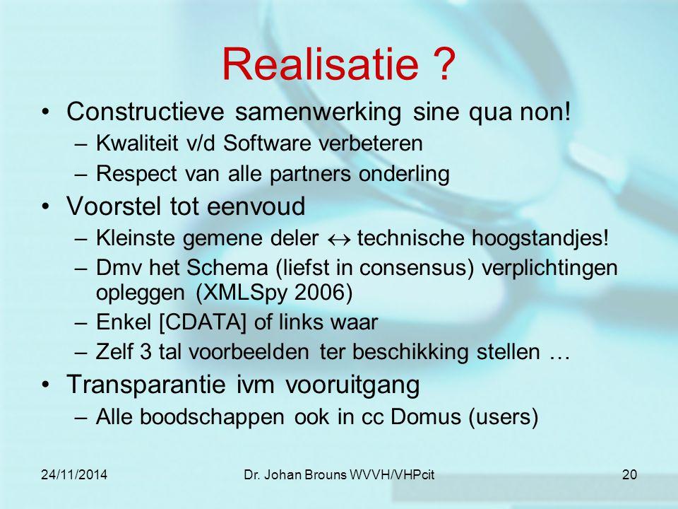 24/11/2014Dr. Johan Brouns WVVH/VHPcit20 Realisatie .