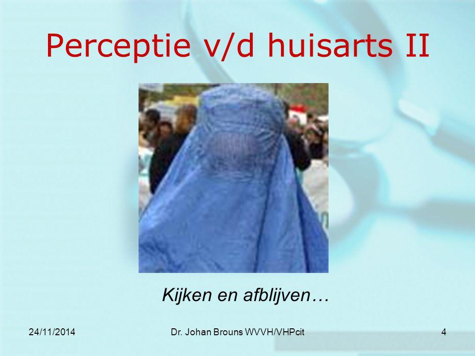24/11/2014Dr. Johan Brouns WVVH/VHPcit4 Perceptie v/d huisarts II Kijken en afblijven…