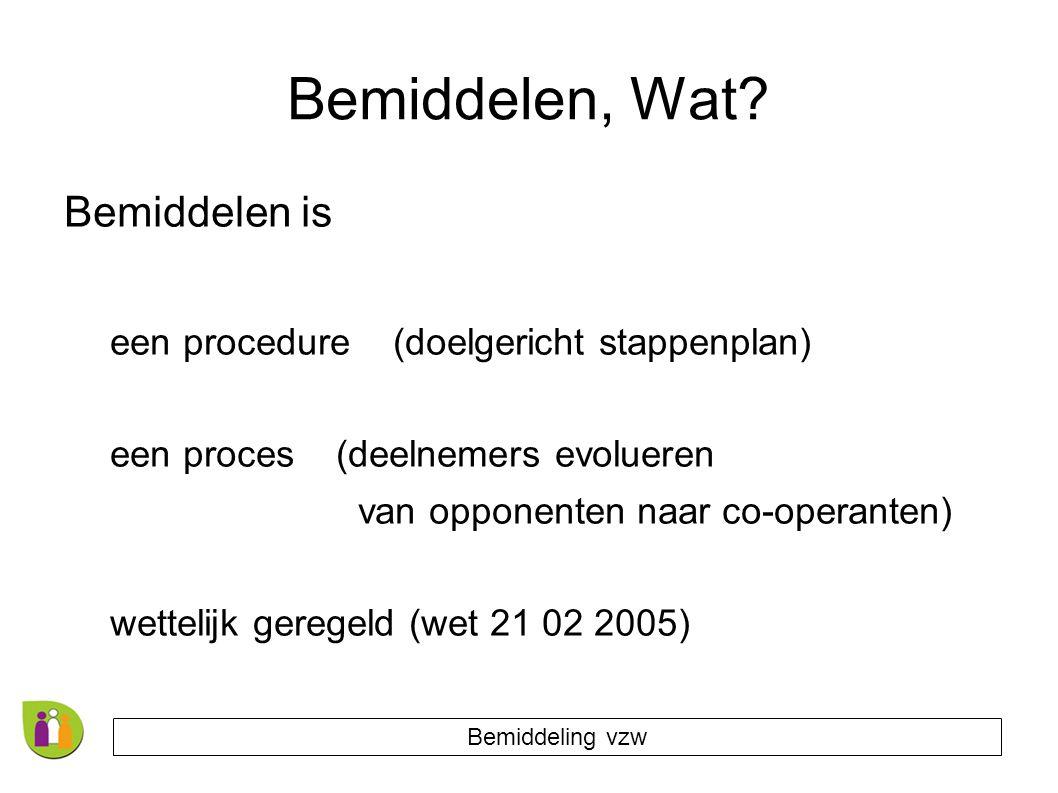 Bemiddelen, Wat? Bemiddelen is een procedure (doelgericht stappenplan) een proces (deelnemers evolueren van opponenten naar co-operanten) wettelijk ge