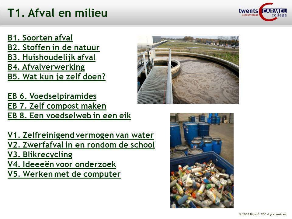 © 2009 Biosoft TCC - Lyceumstraat T1. Afval en milieu B1. Soorten afval B2. Stoffen in de natuur B3. Huishoudelijk afval B4. Afvalverwerking B5. Wat k