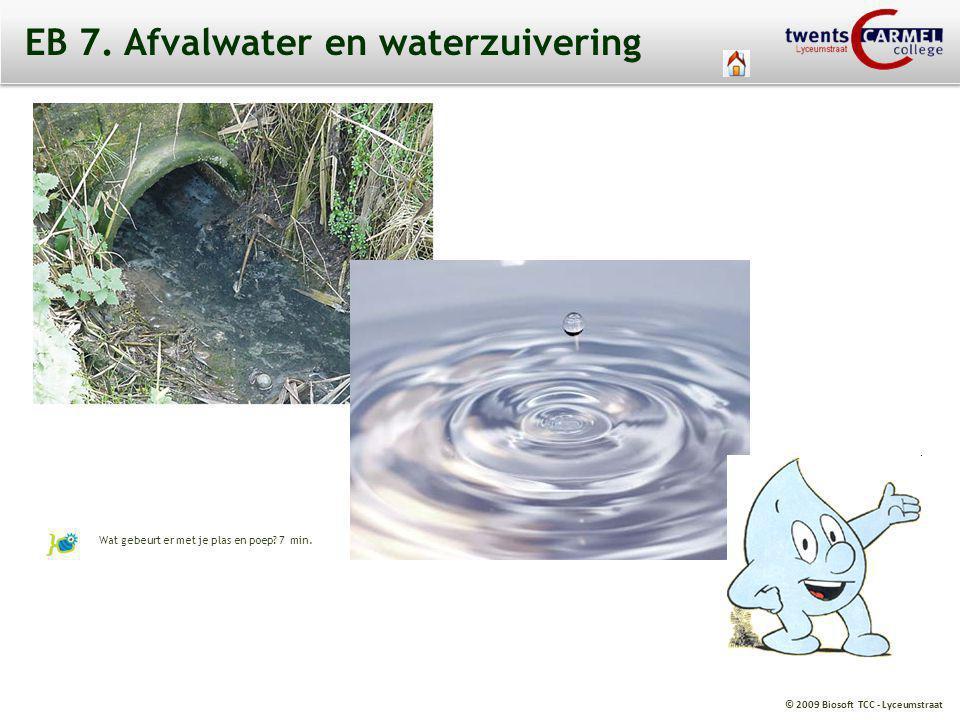 © 2009 Biosoft TCC - Lyceumstraat EB 7. Afvalwater en waterzuivering Wat gebeurt er met je plas en poep? 7 min.