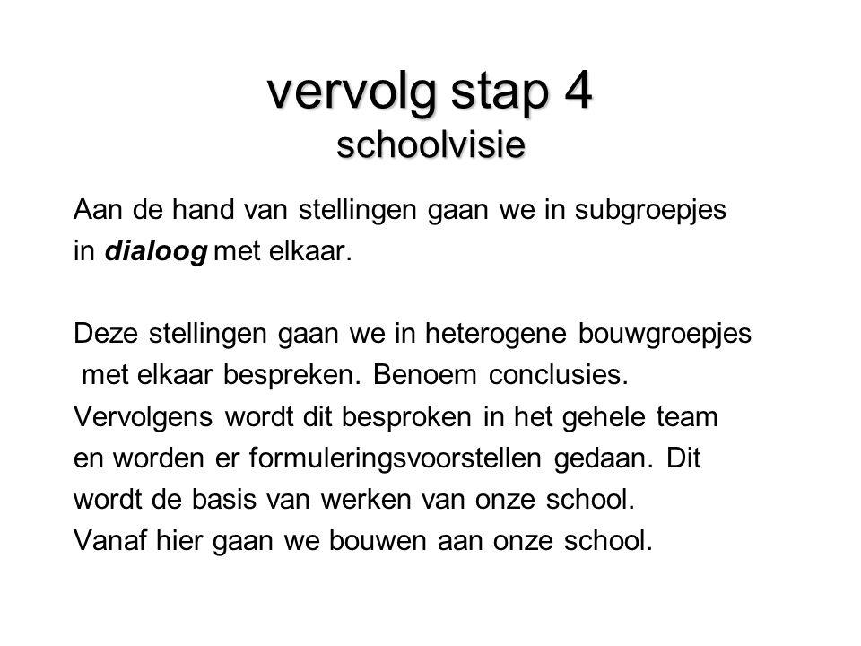 vervolg stap 4 schoolvisie Aan de hand van stellingen gaan we in subgroepjes in dialoog met elkaar. Deze stellingen gaan we in heterogene bouwgroepjes