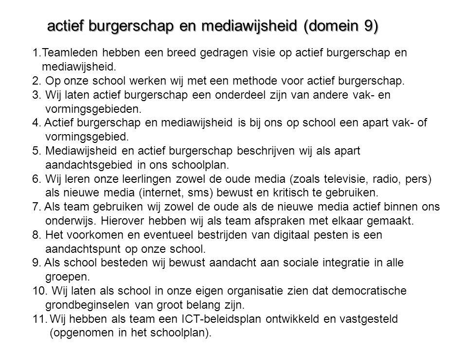 actief burgerschap en mediawijsheid (domein 9) 1.Teamleden hebben een breed gedragen visie op actief burgerschap en mediawijsheid. 2. Op onze school w