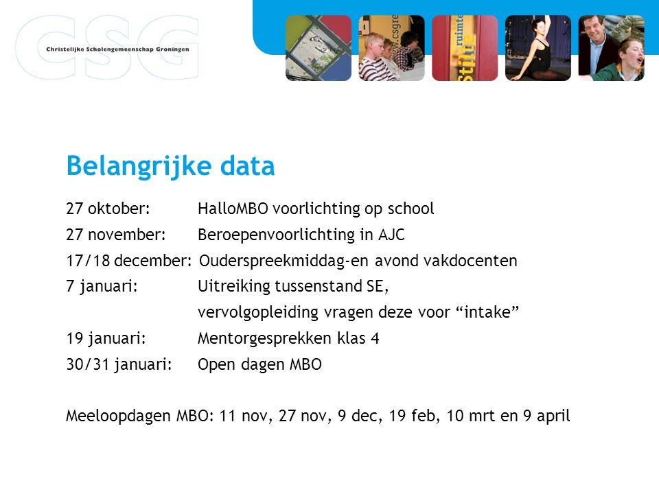 Belangrijke data 27 oktober:HalloMBO voorlichting op school 27 november:Beroepenvoorlichting in AJC 17/18 december: Ouderspreekmiddag-en avond vakdoce