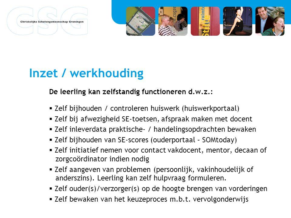 Inzet / werkhouding De leerling kan zelfstandig functioneren d.w.z.:  Zelf bijhouden / controleren huiswerk (huiswerkportaal)  Zelf bij afwezigheid