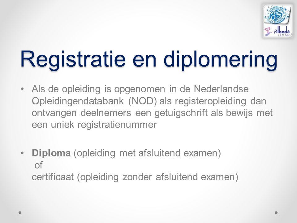 Registratie en diplomering Als de opleiding is opgenomen in de Nederlandse Opleidingendatabank (NOD) als registeropleiding dan ontvangen deelnemers een getuigschrift als bewijs met een uniek registratienummer Diploma (opleiding met afsluitend examen) of certificaat (opleiding zonder afsluitend examen)