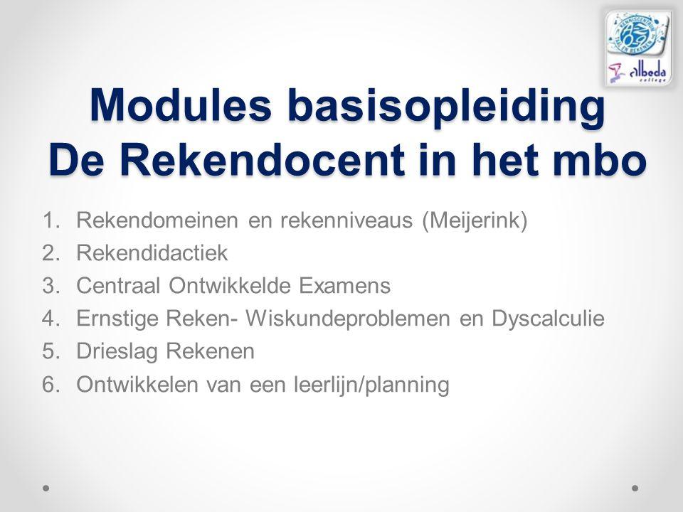 Modules basisopleiding De Rekendocent in het mbo 1.Rekendomeinen en rekenniveaus (Meijerink) 2.Rekendidactiek 3.Centraal Ontwikkelde Examens 4.Ernstig