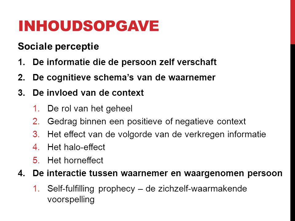 INHOUDSOPGAVE Sociale perceptie 1.De informatie die de persoon zelf verschaft 2.De cognitieve schema's van de waarnemer 3.De invloed van de context 1.