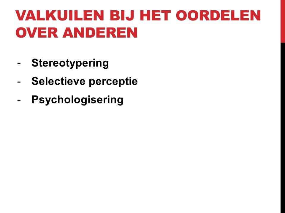 VALKUILEN BIJ HET OORDELEN OVER ANDEREN -Stereotypering -Selectieve perceptie -Psychologisering