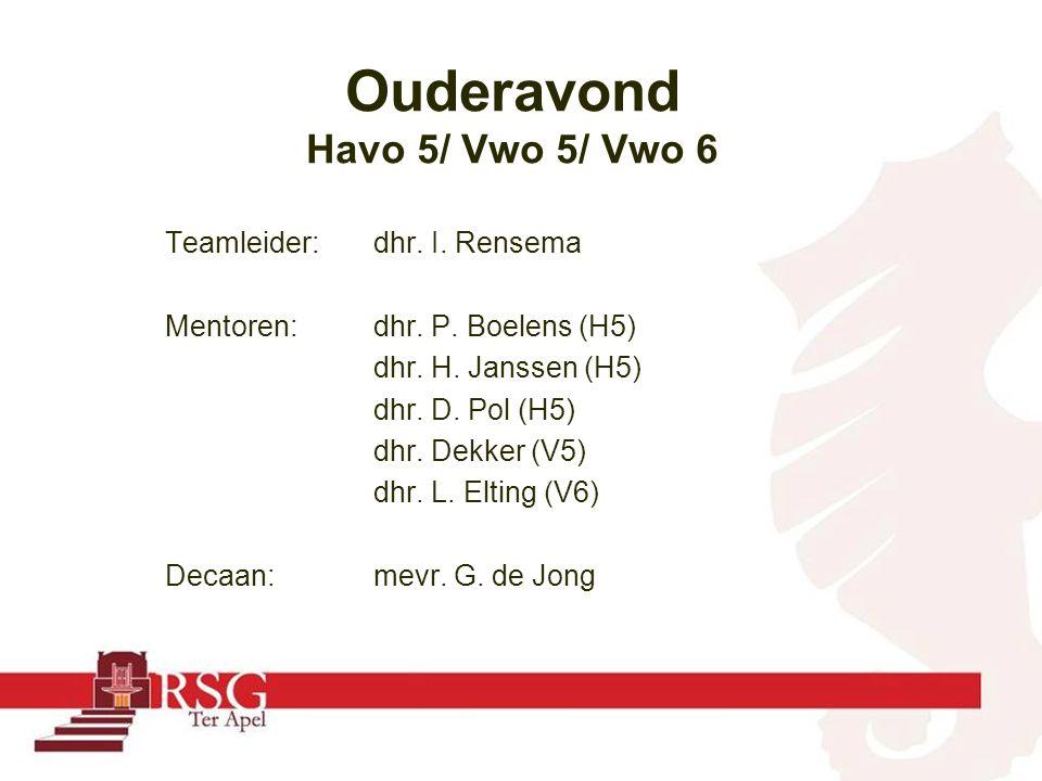 Teamleider:dhr. I. Rensema Mentoren: dhr. P. Boelens (H5) dhr. H. Janssen (H5) dhr. D. Pol (H5) dhr. Dekker (V5) dhr. L. Elting (V6) Decaan:mevr. G. d