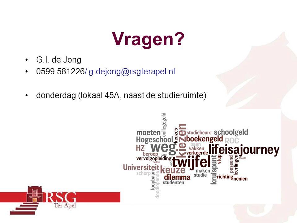 Vragen? G.I. de Jong 0599 581226/ g.dejong@rsgterapel.nl donderdag (lokaal 45A, naast de studieruimte)