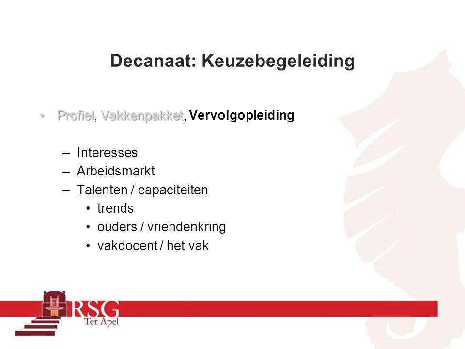 Decanaat: Keuzebegeleiding ProfielVakkenpakketProfiel, Vakkenpakket, Vervolgopleiding –Interesses –Arbeidsmarkt –Talenten / capaciteiten trends ouders