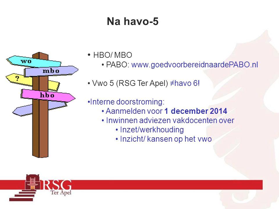 Na havo-5 HBO/ MBO PABO: www.goedvoorbereidnaardePABO.nl Vwo 5 (RSG Ter Apel) ≠havo 6! Interne doorstroming: Aanmelden voor 1 december 2014 Inwinnen a
