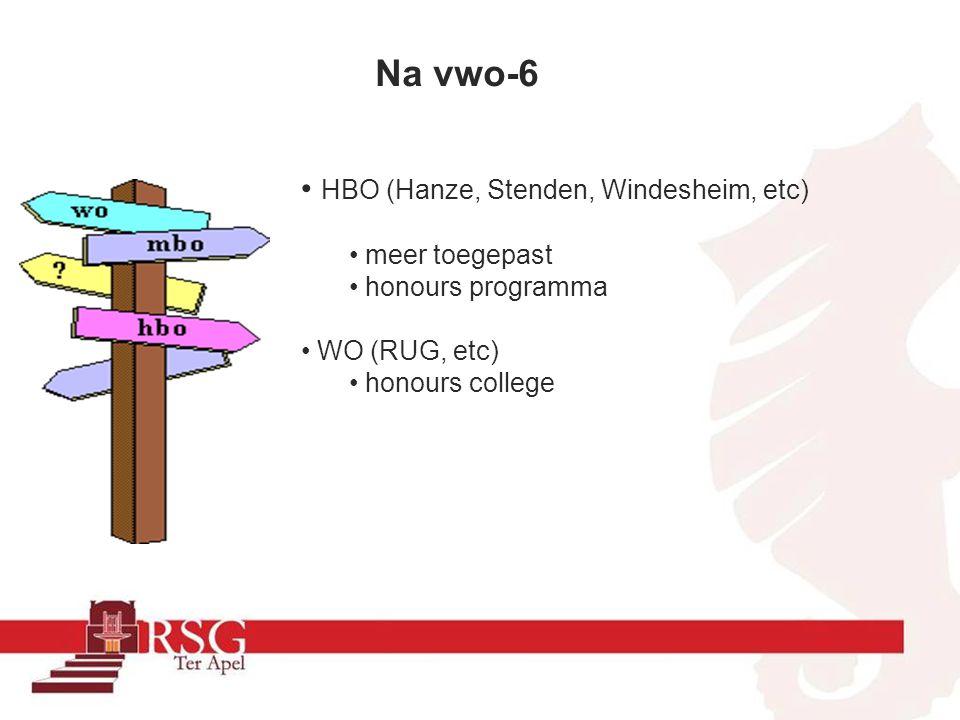 Na vwo-6 HBO (Hanze, Stenden, Windesheim, etc) meer toegepast honours programma WO (RUG, etc) honours college