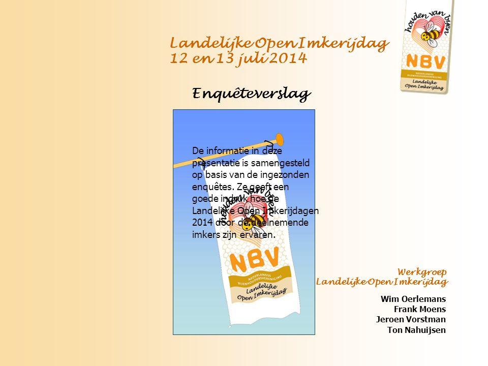 Landelijke Open Imkerijdag 12 en 13 juli 2014 Enquêteverslag De informatie in deze presentatie is samengesteld op basis van de ingezonden enquêtes.
