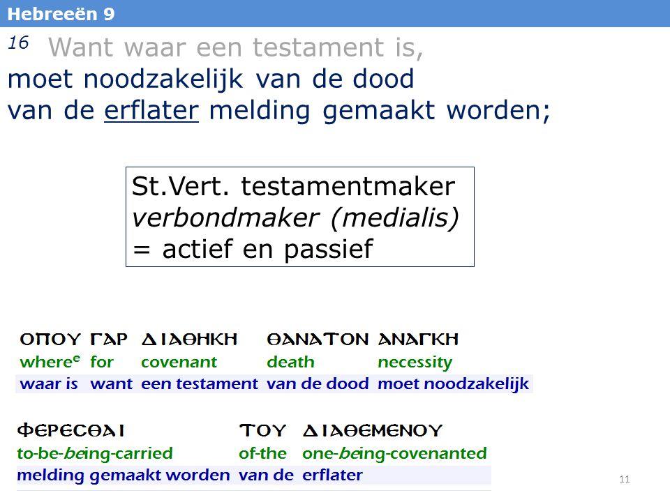 11 Hebreeën 9 16 Want waar een testament is, moet noodzakelijk van de dood van de erflater melding gemaakt worden; St.Vert.