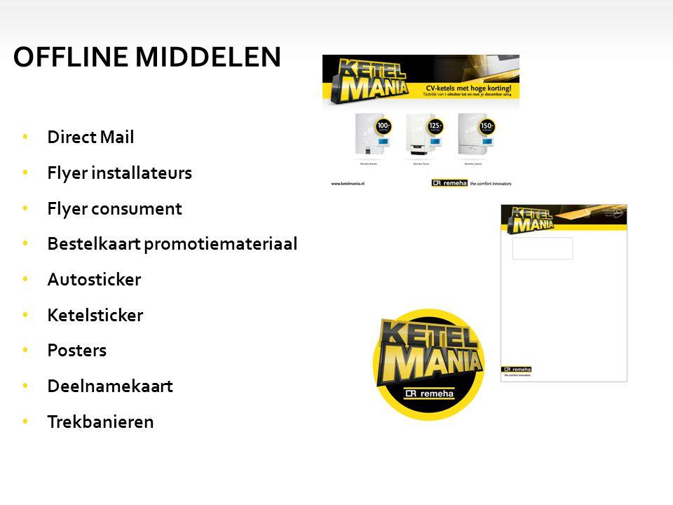 Direct Mail Flyer installateurs Flyer consument Bestelkaart promotiemateriaal Autosticker Ketelsticker Posters Deelnamekaart Trekbanieren OFFLINE MIDDELEN