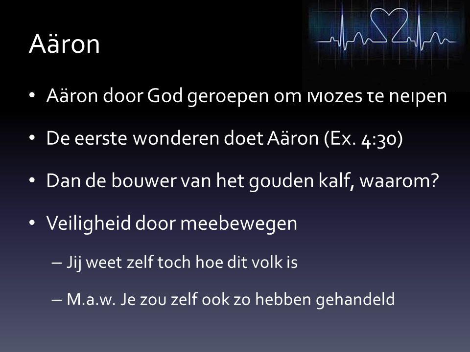 Aäron Aäron door God geroepen om Mozes te helpen De eerste wonderen doet Aäron (Ex. 4:30) Dan de bouwer van het gouden kalf, waarom? Veiligheid door m