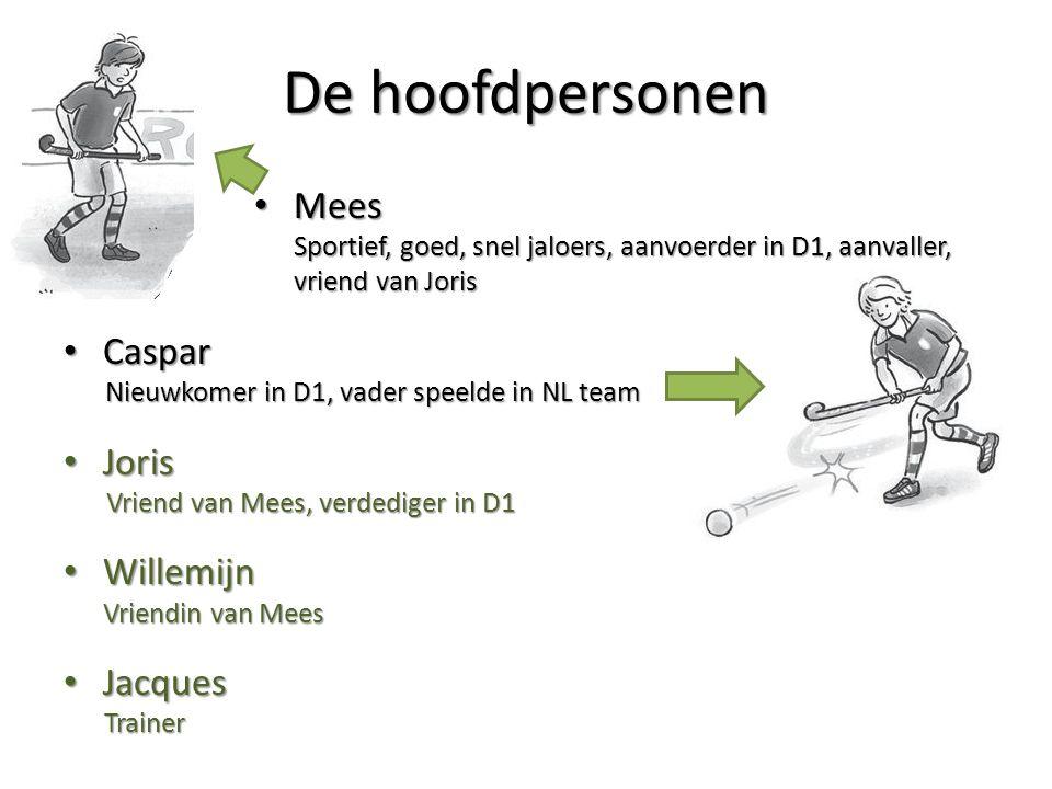 De hoofdpersonen Mees Mees Sportief, goed, snel jaloers, aanvoerder in D1, aanvaller, vriend van Joris Caspar Caspar Nieuwkomer in D1, vader speelde i