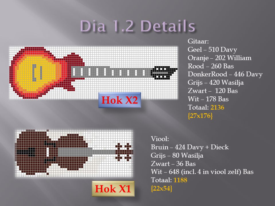 Viool: Bruin – 424 Davy + Dieck Grijs – 80 Wasilja Zwart – 36 Bas Wit – 648 (incl. 4 in viool zelf) Bas Totaal: 1188 {22x54} Gitaar: Geel – 510 Davy O