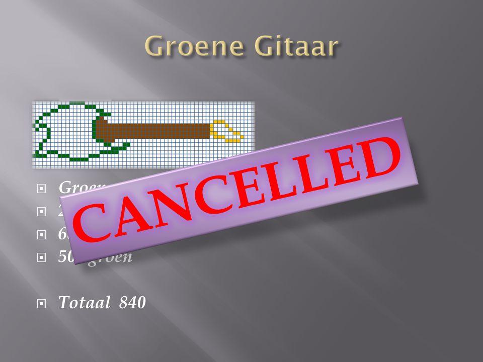  Groene gitaar:  274 bruin  68 geel  502 groen  Totaal 840