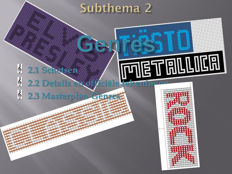 2.1 Schetsen 2.2 Details en officiële tekeningen 2.3 Masterplan Genres