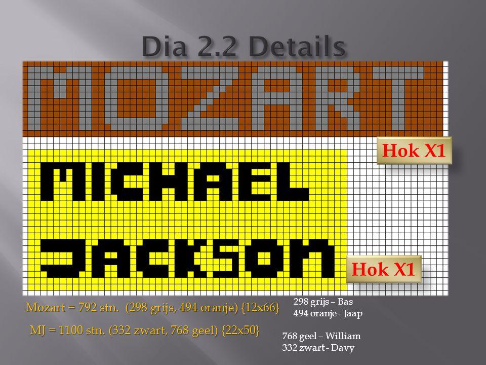 Mozart = 792 stn. (298 grijs, 494 oranje) {12x66} MJ = 1100 stn. (332 zwart, 768 geel) {22x50} 768 geel – William 332 zwart - Davy 298 grijs – Bas 494