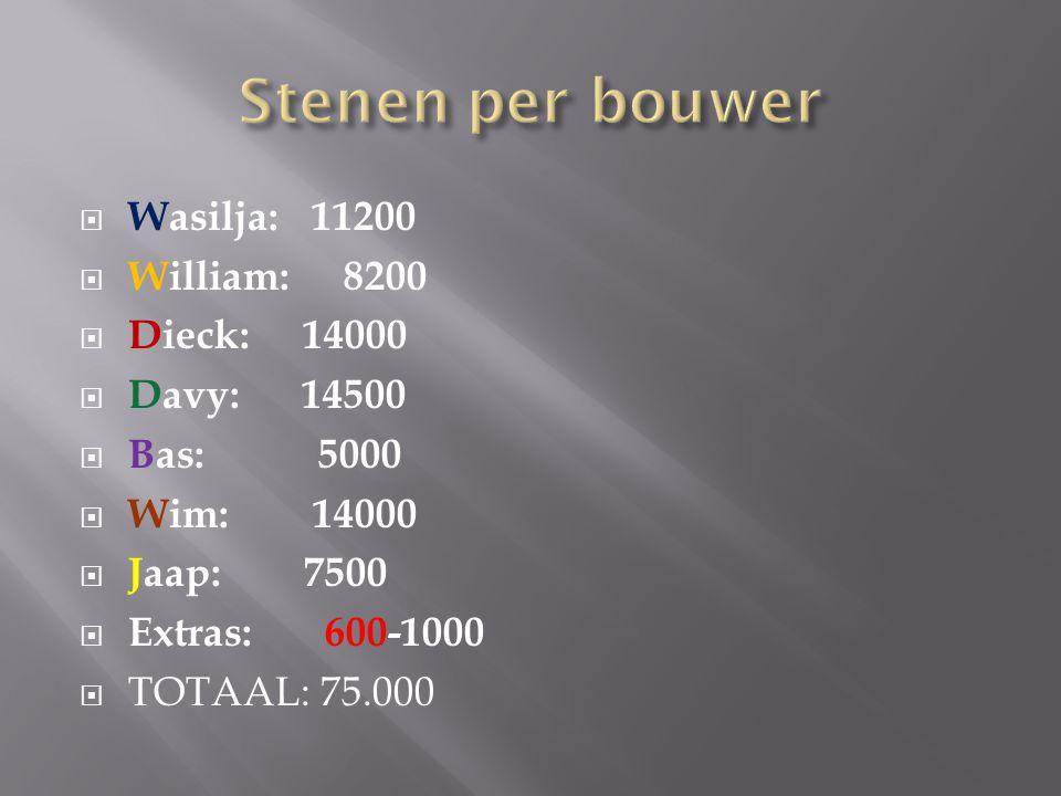  Wasilja: 11200  William: 8200  Dieck: 14000  Davy: 14500  Bas: 5000  Wim: 14000  Jaap: 7500  Extras: 600-1000  TOTAAL: 75.000