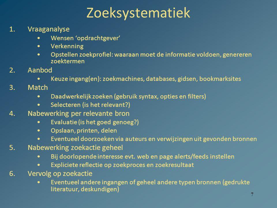 7 Zoeksystematiek 1.Vraaganalyse Wensen 'opdrachtgever' Verkenning Opstellen zoekprofiel: waaraan moet de informatie voldoen, genereren zoektermen 2.A