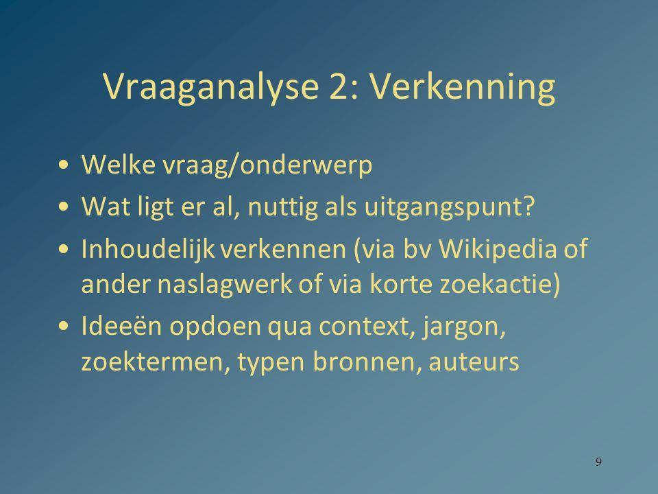 9 Vraaganalyse 2: Verkenning Welke vraag/onderwerp Wat ligt er al, nuttig als uitgangspunt.