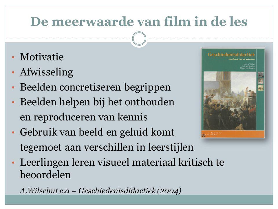 De meerwaarde van film in de les Motivatie Afwisseling Beelden concretiseren begrippen Beelden helpen bij het onthouden en reproduceren van kennis Geb