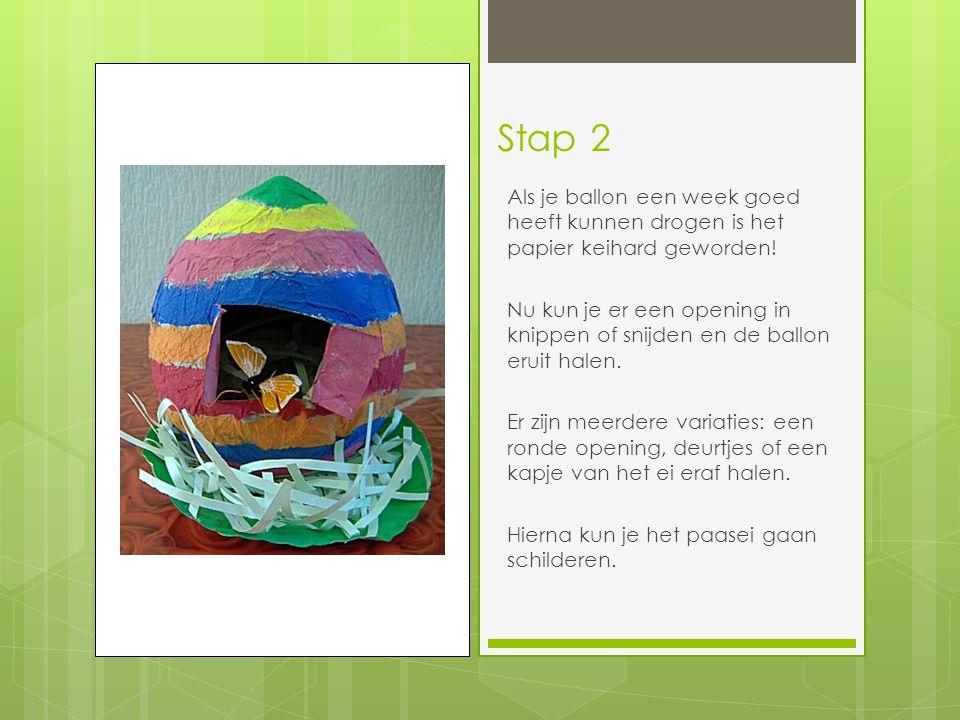 Stap 2 Als je ballon een week goed heeft kunnen drogen is het papier keihard geworden! Nu kun je er een opening in knippen of snijden en de ballon eru