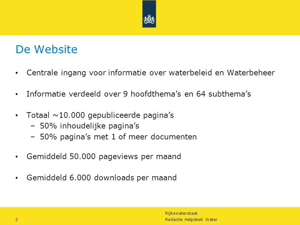 Rijkswaterstaat 2Redactie Helpdesk Water De Website Centrale ingang voor informatie over waterbeleid en Waterbeheer Informatie verdeeld over 9 hoofdth