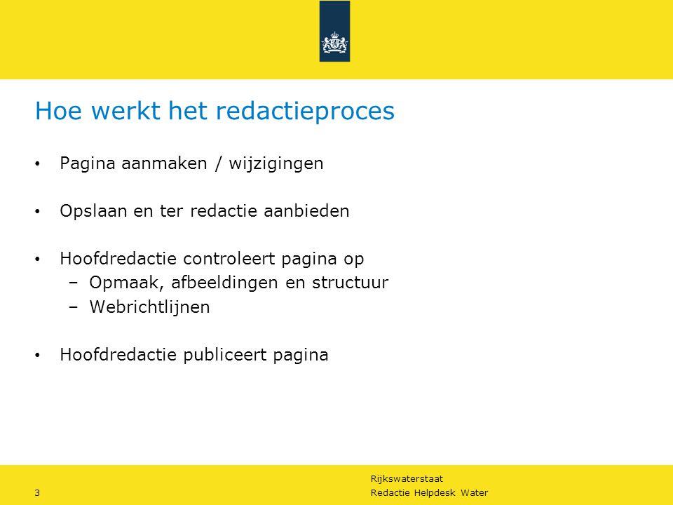 Rijkswaterstaat 3Redactie Helpdesk Water Hoe werkt het redactieproces Pagina aanmaken / wijzigingen Opslaan en ter redactie aanbieden Hoofdredactie co